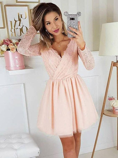 Ball Gown Dresses, A-Line V-Neck Pink Long Sleeves Homecoming Party Dress with Lace  cg6651