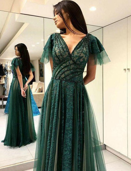 V-Neck Dark Green Evening Dress with Beading Appliques Long Prom Dress  cg6652