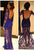 2020 New Arrival Sheath Purple Lace Long Sleeves Prom Dresses  cg6666