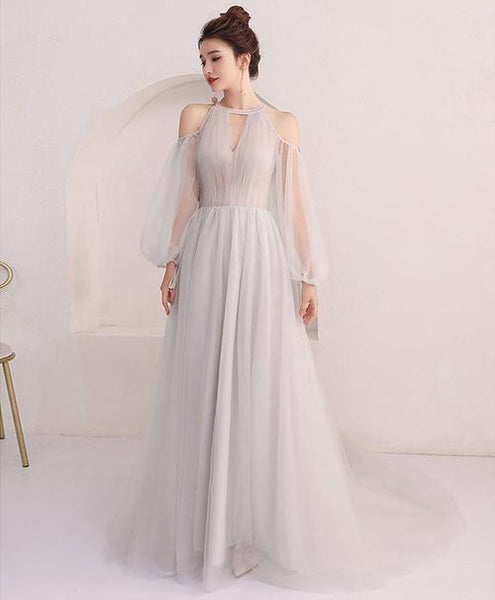 Unique gray tulle long prom dress, gray evening dress  cg6676
