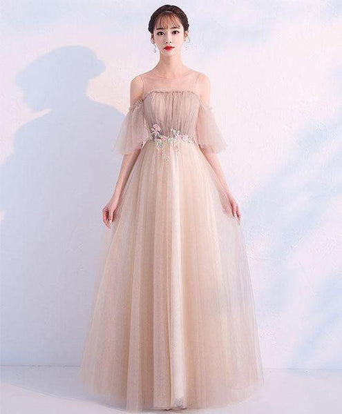 Elegant champagne round neck tulle long prom dress, champagne tulle evening dress  cg6677