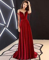 Unique style burgundy long prom dress, burgundy evening dresses  cg6678