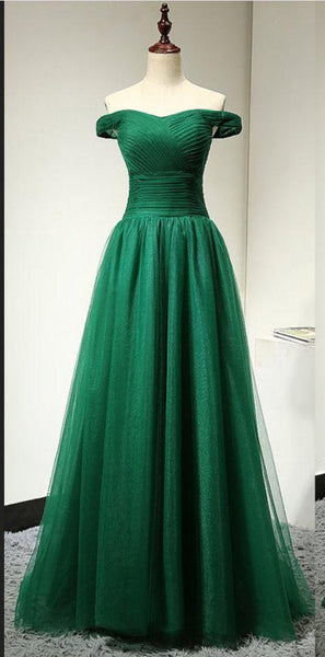 Prom Dress Plus Size, Off Shoulder Sleeves Green Prom Dress  cg6695