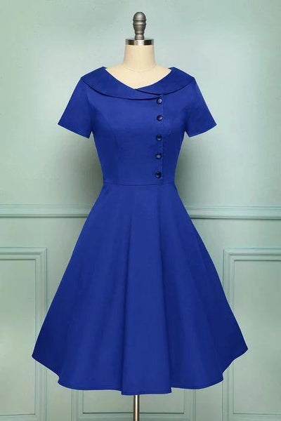 Blue Collared A Line Vintage Button Dress with Sleeves, Short Homecoming Dress  cg6715