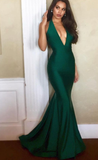 Sexy Deep V Neck Hunter Green Mermaid Long Prom Dress Evening Dress  cg6722