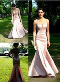 Glamorous Pink Sheer Neck Mermaid/Trumpet Satin Prom Dresses  cg6724