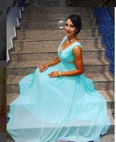 Prom Dresses Split, A-Line/Princess Chiffon Cheap Blue Sweetheart Prom Dresses  cg6726
