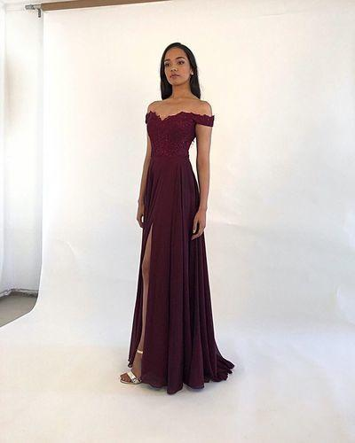 Classic A Line Off the Shoulder Burgundy/Green Long Prom/Evening Dresses with Appliques  cg6727
