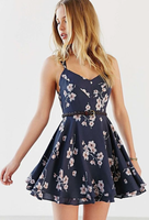Navy blue flower homecoming dress   cg6732
