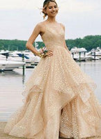 Champagne v neck tulle long prom dress, evening dress  cg6739