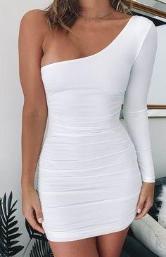 One Shoulder Short White Homecoming Dress  cg6740