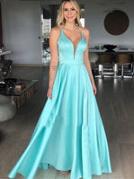 Blue V Neck Long Prom Dress  cg6754