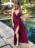Elegant Prom Dress, A-Line Spaghetti Straps Burgundy Satin Prom Dress with Split  cg6758