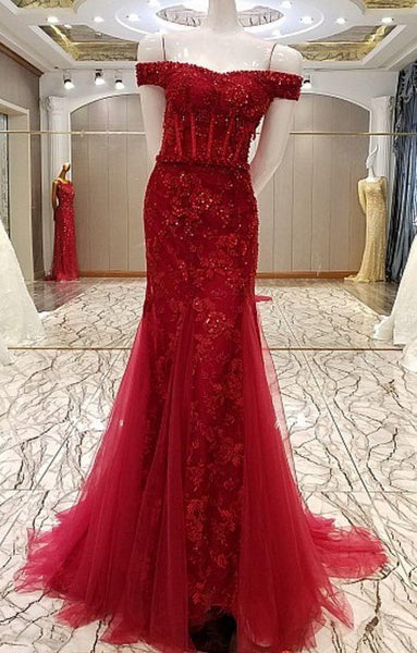 Mermaid Luxury Flowers Married Sexy Lace Fishtail Gown Evening Wine Formal Party prom Dress  cg6775