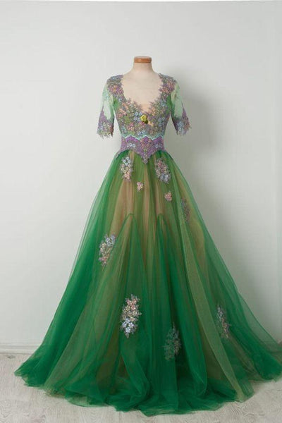 Pupel Appliques Half Sleeves Green Long Tulle prom Dress   cg6797
