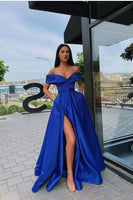 Chic Off Shoulder Royal Blue Prom Evening Dress  cg6803