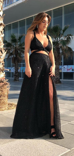 sexy v neck black prom dresses, stunning sequined bling prom dresses, fashion long prom dresses with high leg split   cg6812