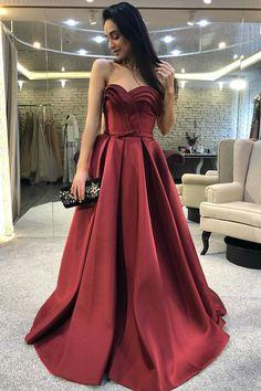 modest sweetheart long prom dress, stunning dark red prom dress with ruffles  cg6816