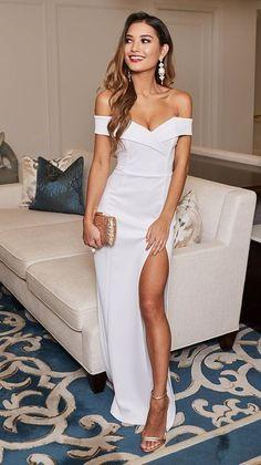 Off the Shoulder White Prom Dress  cg6821