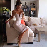Nude Plunging Spaghetti Strap Homecoming Dress  cg6827