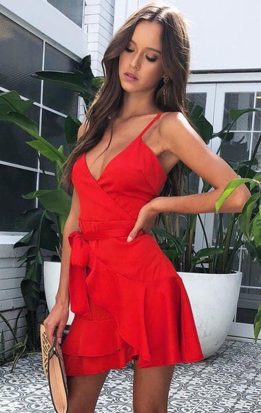 fashion summer dress, sexy red short dress, hot cocktail dress with ruffles, simple homecoming dress with belt  cg6830