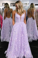 A-Line V-Neck Lilac Long Prom Dress with Appliques  cg6841