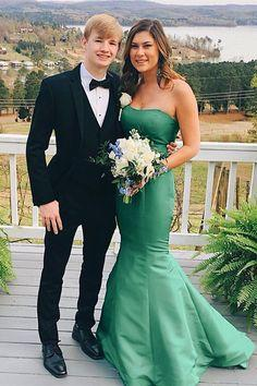 Mermaid Strapless Green Long Prom Evening Dress  cg6847
