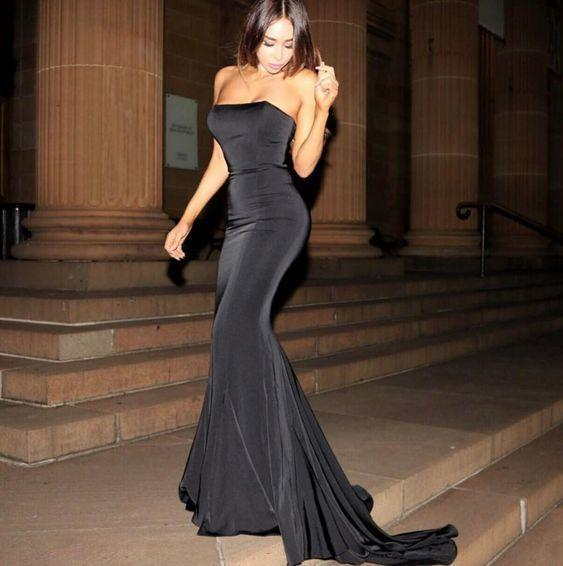 Black mermaid evening prom gown with fishtail train   cg6851
