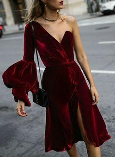 Red velvet asymmetrical prom dress  cg6873