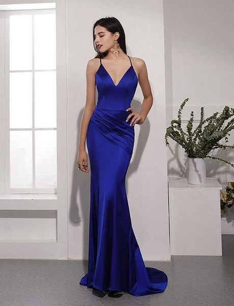Royal Blue V-Neck Mermaid Prom Dresses,Spaghetti Straps Backless Evening Party Dresses  cg6878