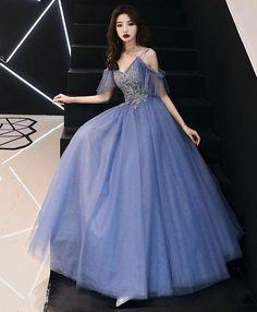 Blue v neck tulle lace long prom dress, blue tulle evening dress  cg6903