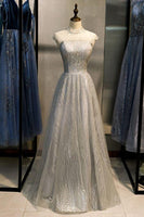 Gray Sequins Tulle O Neck Cap Sleeve Long Formal Prom Dress, Evening Dress  cg6910