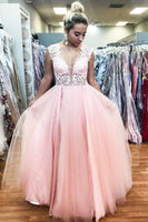 Elegant Floor Length Pink Long Prom Dress with Lace Top  cg6918