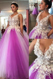 Fantastic Tulle V-neck Neckline Floor-length Ball Gown Prom Dresses With Lace Appliques & Beaded Handmade Flowers  cg6919