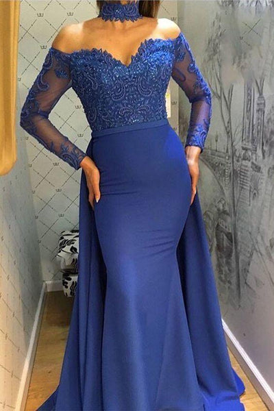 Unique Prom Dresses, Charming Mermaid Royal Blue Long Sleeves Off Shoulder Sweetheart Lace Prom Dress  cg6931