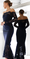 Mermaid Off-the-Shoulder Prom Dress Long Sleeves Navy Blue Cocktail Dress  cg6937