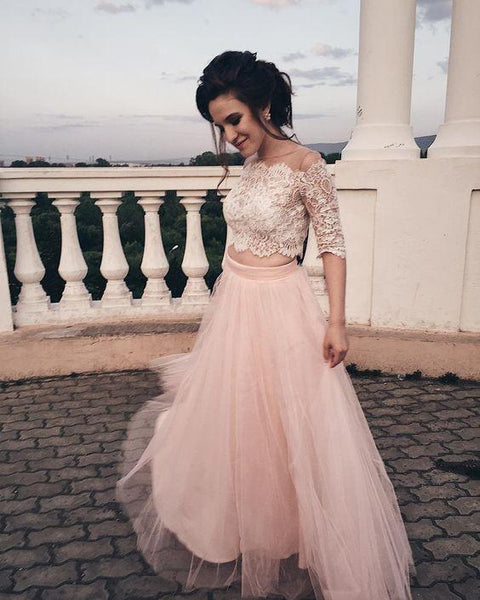 Princess Two Piece Pink Long Prom Dress Formal Dresss  cg6942