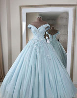 Stunning beautiful blue v neck lace long prom dress, off shoulder evening dress  cg6943