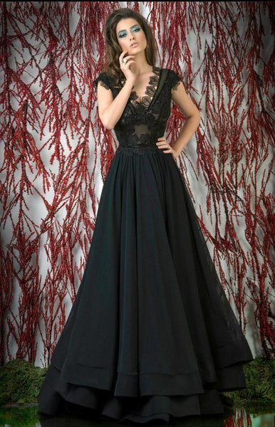 New Black Prom Dresses Long Lace Appliqued Formal Dress Evening Wear V Neck Tiered Skirts Party Gowns  cg6946