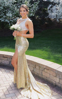 Sparkly Champagne Mermaid prom Evening Dress Cutaway Side Sexy Party Gowns With Crystals Side Slit  cg6950