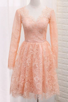 A Line V Neck Long Sleeves Lace Homecoming Dresses With Sash  cg6952
