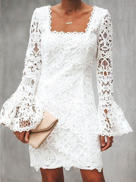 Long Sleeve Lace Above Knee Sweet Homecoming Dress  cg6960