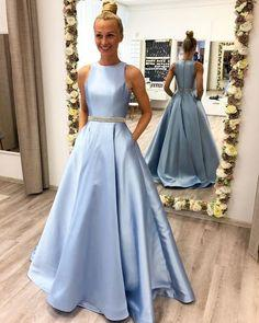 O-Neck Light Blue Prom Dress,Charming Evening Dress,Prom Dresses   cg6964