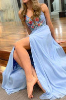 Blue Chiffon Long Floral Prom Dress with Side Slit  cg6973