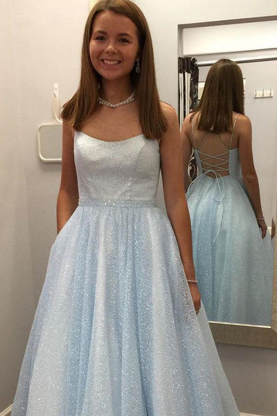 Glitter Light Sky Blue Long Prom Dress with Pockets  cg6975