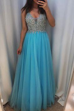 Beaded Blue Long Formal prom Dress  cg6976