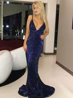 Ball Gown Prom Dresses, Sheath Spaghetti Straps Sweep Train Royal Blue Sequined Prom Dress  cg7002