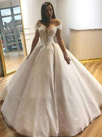 Elegant Prom Dress, Ball Gown Off-the-Shoulder Floor Length Lace Wedding Dress with Beading  cg7010
