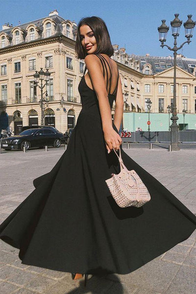 Simple Long Prom Dress Black Party Dress  cg7021