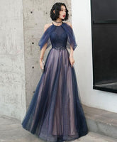 Blue tulle sequin long prom dress blue tulle evening dress  cg7025